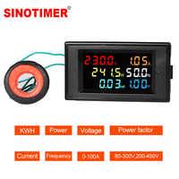 LCD Digital Panel Wattmeter Energie Power Meter Spannung Voltmeter Strom Amperemeter Frequenz Anzeige AC 110V 220V 380V 100A