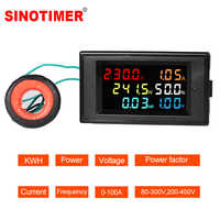 LCD Digital Panel Wattmeter Energy Power Meter Voltage Voltmeter Current Ammeter Frequency Indicator AC 110V 220V 380V 100A
