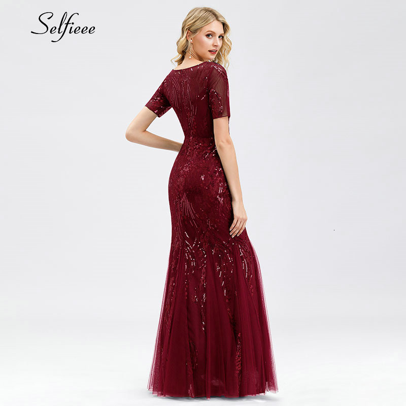 Elegant Bodycon Women Dress Sequined Mermaid O-Neck Short Sleeve Tulle Ladies Sexy Maxi Dress For Party Vestidos De Fiesta 2020 2