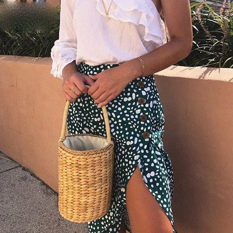 Fashion Nice Summer Women Vintage Green Dot Print Beach Skirt Sweet Chic A Line Buttons High Waist Split Vintage Skirt