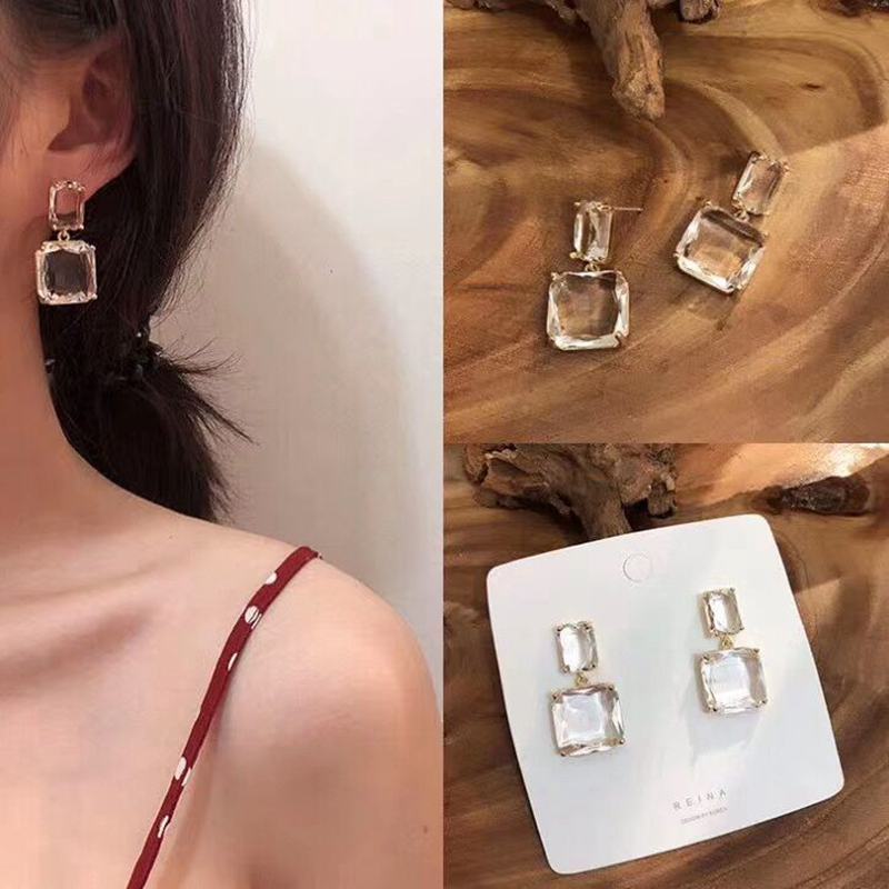 Fashion Simple Geometric Transparent Crystal Square Earrings Alloy Metal Hanging Earrings Exaggerated For Women Trendy Jewelry