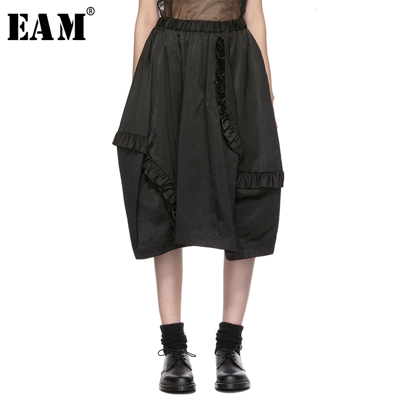 [EAM] High Elastic Waist Black Ruffles Split Joint Temperament Half-body Skirt Women Fashion New Spring Autumn 2020 19A-a194
