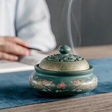 Creative Ink Disc Censer Ceramic Incense Burner Buddhist Seat Indoor Household Home Decoration G