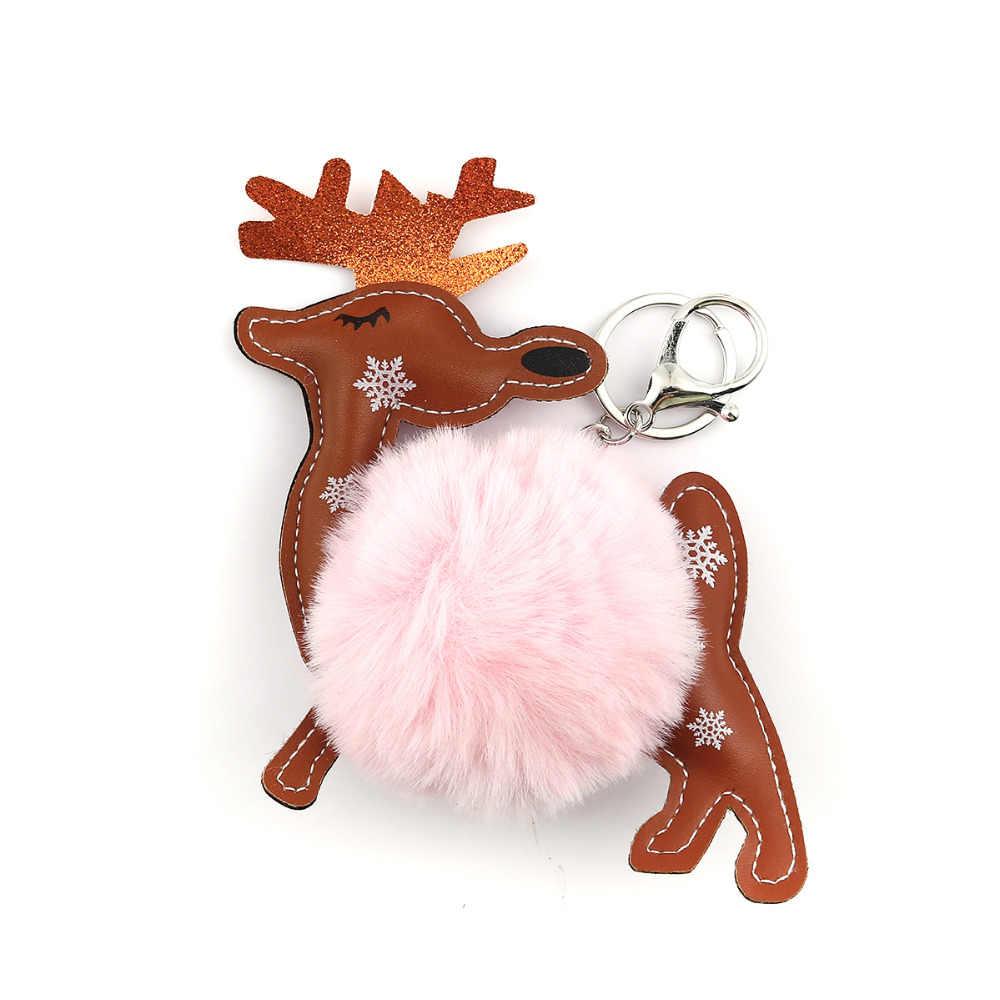 Doreen caixa de natal pelúcia chaveiro & chaveiro cervos pere david café pavão azul bonito pom pom ball15cm x 12 cm, 1 peça