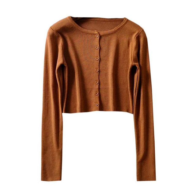Korean Style O-neck Short Knitted Sweaters Women Thin Cardigan Fashion  Sleeve Sun Protection Crop Top Ropa Mujer 6