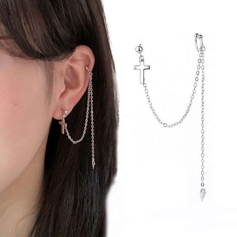 Boucle d'oreille croisée pour femmes, 1 pièce, Clip à chaîne longue, à la mode, couleur argent, bijoux, nouvelle collection