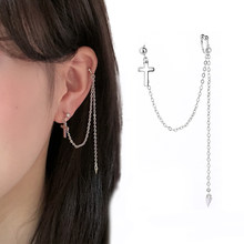 1 pcs Ear Cuff Clip long chain Clip on earring cross earring for women Fashion silver color jewelry New Earcuff