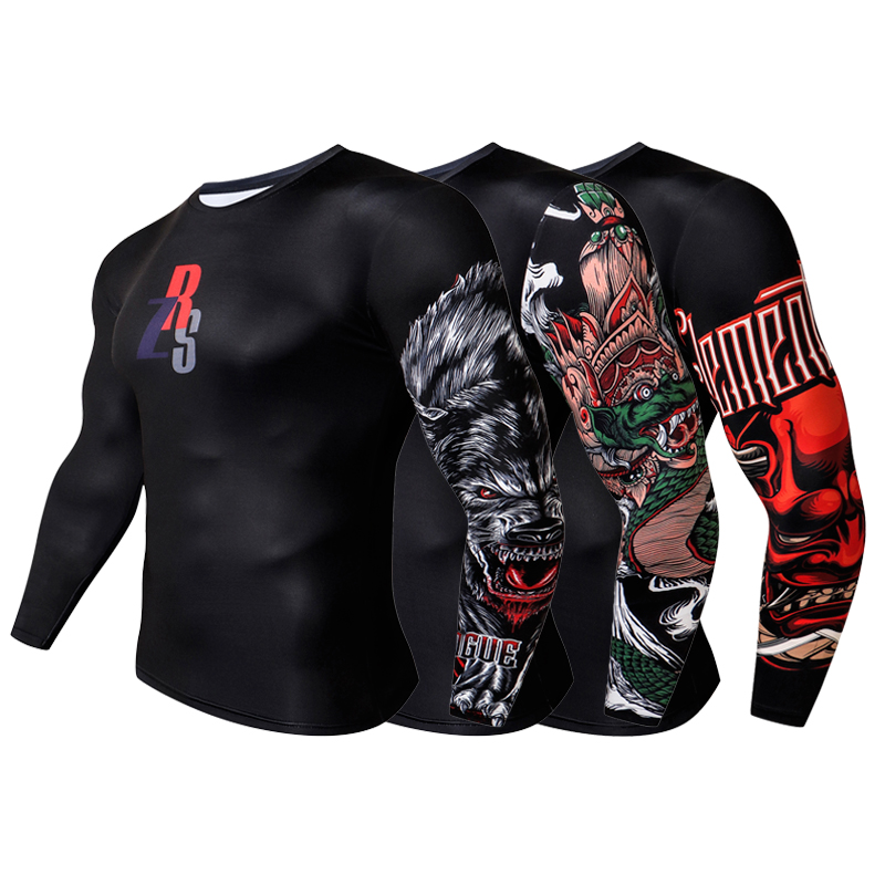 ZERUISI Brand Male 3D Printed Compression T-shirt Quick-drying Anti-pilling Winter Bottom Shirt Rash Guard Long Sleeve Top
