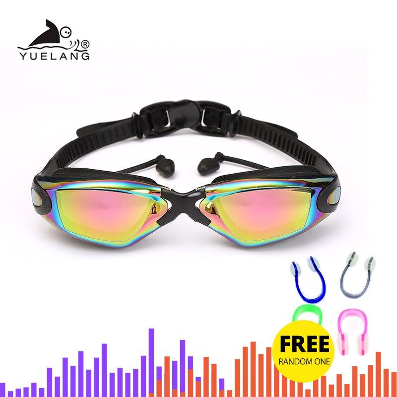 Óculos de Natação Adultos com Tampões de Ouvido Óculos de Natação de Silicone Profissionais Silicone Durável Anti-nevoeiro Anti-uv Preto – Azul de