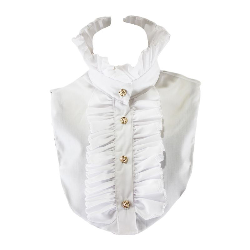 Womens Victorian Vintage Palace Half Shirt Blouse Stand-Up Ruffles Fake Collar