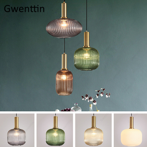 Image 3 - Modern Stained Glass Pendant Light Fixtures Led Gold Hanging Lamp for Living Room Bedroom Home Loft Industrial Decor Luminaire
