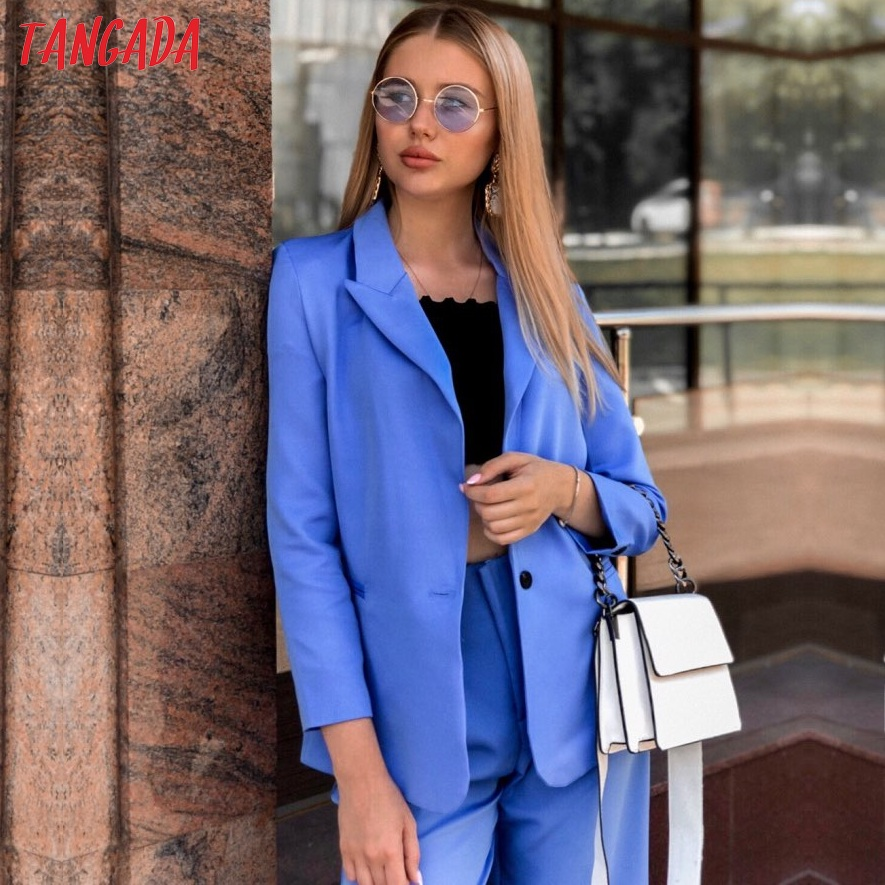 Tangada 2019 Women Formal Blue Blazer Long Sleeve Ladies Coat Female Pockets Buttons Blazer Work Office Business Suit SL273