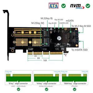 Image 2 - 3 في 1 mSATA M.2 PCIE NVMe SSD إلى PCI E 3.0 4X SATA 3.0 بطاقة محول لـ M2 NVMe AHCI SATA mSATA أقراص بحالة صلبة محول