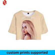 Ariana Grande 3D Printed Crop Tops Women Fashion Summer Shor