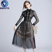 Черное Сетчатое платье миди для женщин модное в стиле бохо девушек