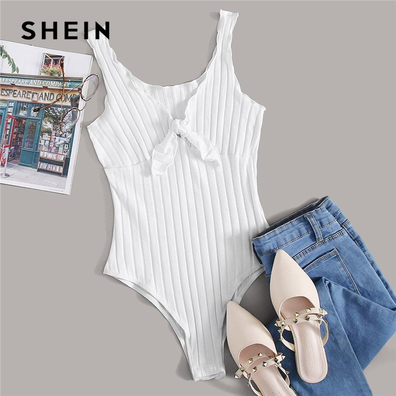 SHEIN Tie Front Lettuce Edge Rib-knit Bodysuit Women Summer Sleeveless Mid Waist V Neck Solid Casual Skinny Bodysuits