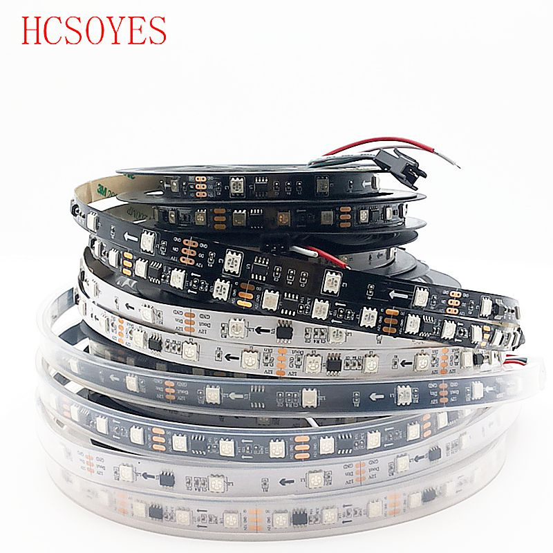 WS2811 30/48/60leds/m 5050 SMD RGB Strip AddressableLed Pixels External 1 Ic Control 3 Leds 5m/roll 16.5ft DC12V