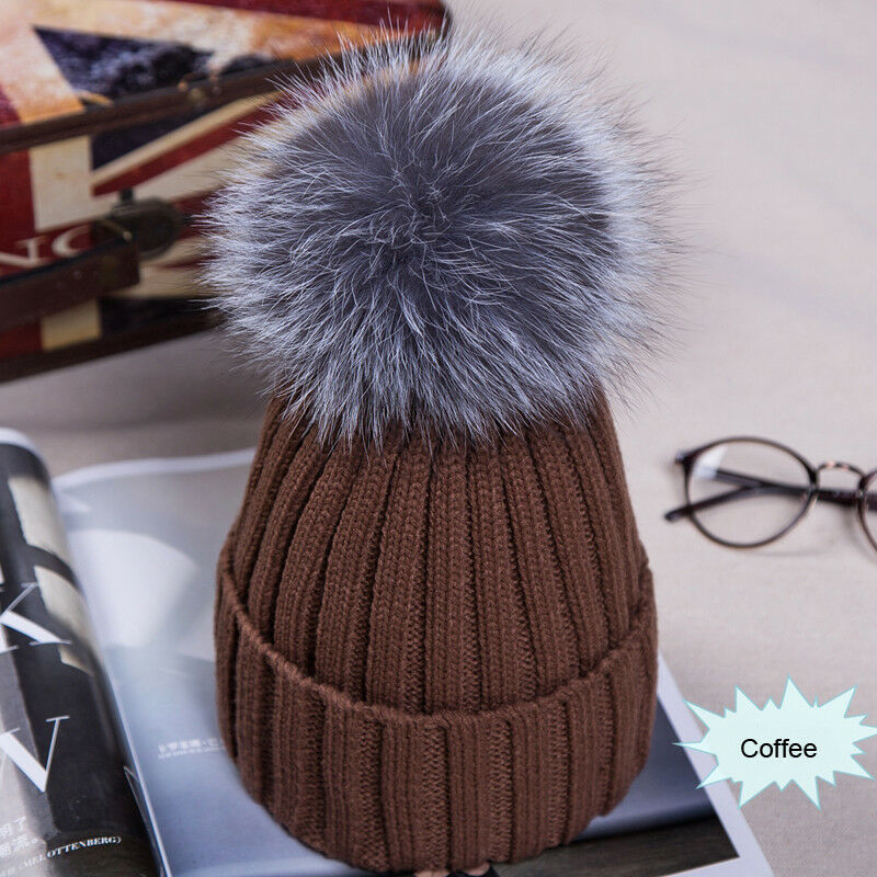 Winter NEW Women Pom Pom Beanies Warm Knitted Bobble Girl Fur Pompom Hats Real Raccoon Fur Pompon Casual Hat Cap 3