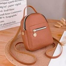 Маленький однотонный рюкзак на молнии для женщин Mochila кошелек с надписью сумка для мобильного телефона Bolso Mujer sac a основной femme#50