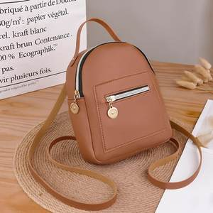 Shoulders-Backpack Small Women Mochila Purse Mobile-Phone-Bag Solid-Color Zipper