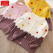 Autumn winter girls knit sweaters kids cute clothing long sleeve pullover tops children warm clothes casual autumn winter cotton tops clothing boys girls knitting sweater pullover kids sweaters children soft warm clothes