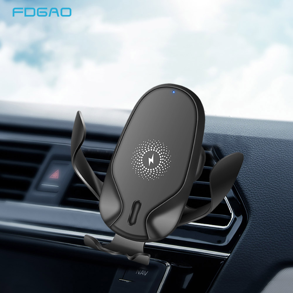 FDGAO Fast 10W Qi <font><b>Wireless</b></font> <font><b>Car</b></font> <font><b>Charger</b></font> Air Vent Mount Phone Holder For iPhone 11 Pro XS Max XR X Samsung S10 S9 Xiaomi MIX 2S 3 image