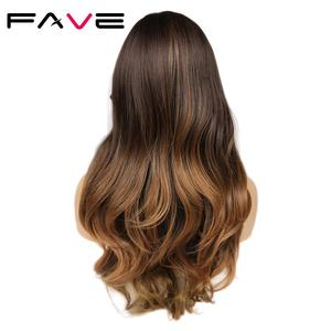 Image 2 - FAVE Long Ombre Brown Wavy Wig Blonde Pink Purple Pink Black Gray Synthetic Wig For Women Cosplay Hair High Density Temperature