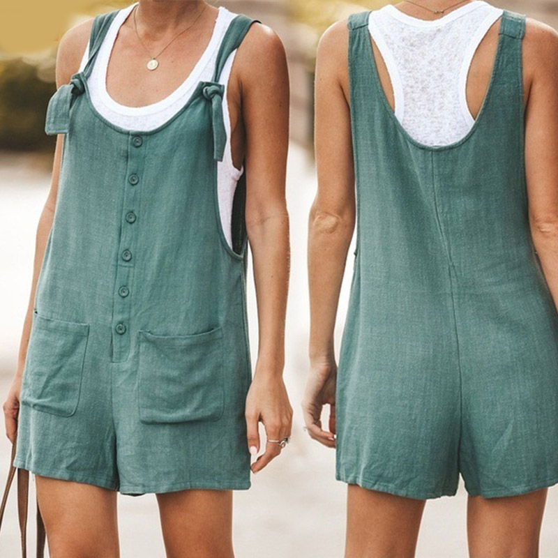Summer Casual Women Solid Color Rompers Sleeveless Backless Up Playsuits Buttons Pocket Loose Overalls Ladies Shorts Jumpsuits
