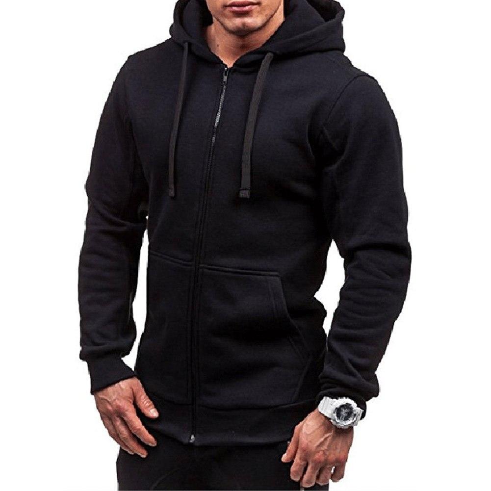Men's Solid Color Zip Up Hoodie  Classic Winter Hooded Sweatshirt Zipper Fleece Warm Cardigan Jacket Coat Top
