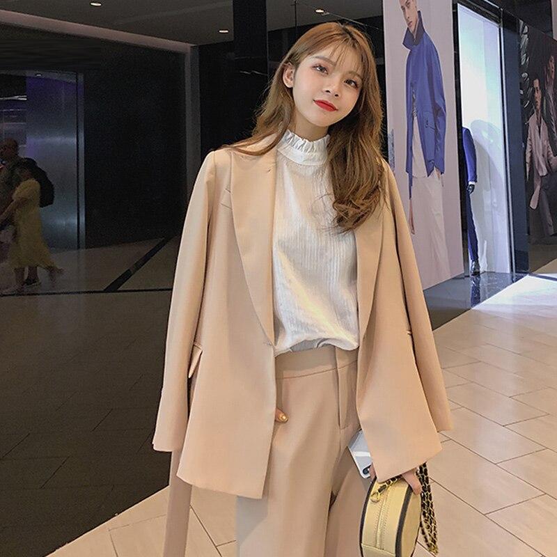 Blazer Set Office Lady Pants Suit Women Temperament High Waist Trouser Suits Two Sets Femme 2020 New Autumn Fashion