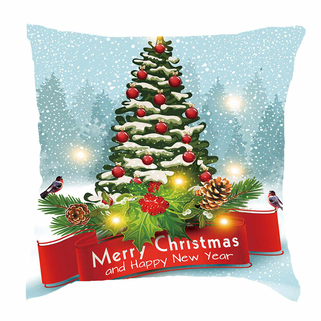 Hot البيع عيد ميلاد سعيد كيس وسادة كيس وسادة مربع s السنة الجديدة الكرتون وسادة يغطي حجم 45*45 سنتيمتر ديكور المنزل 18x18 بوصة