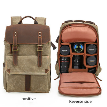 цена на New Camera Bag SLR Shoulder Camera Backpack Waterproof Large Capacity Wax Dyed Rucksack Outdoor Pack with Five Lens Storage