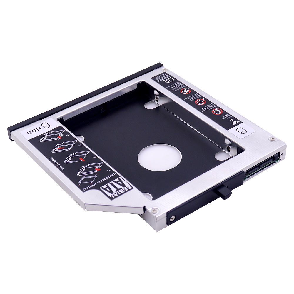 Aluminum 2nd HDD Caddy 12.7mm SATA 3.0 for 2.5'' SSD <font><b>Case</b></font> HDD Enclosure for <font><b>Lenovo</b></font> ThinkPad T420 <font><b>T430</b></font> T520 T530 image