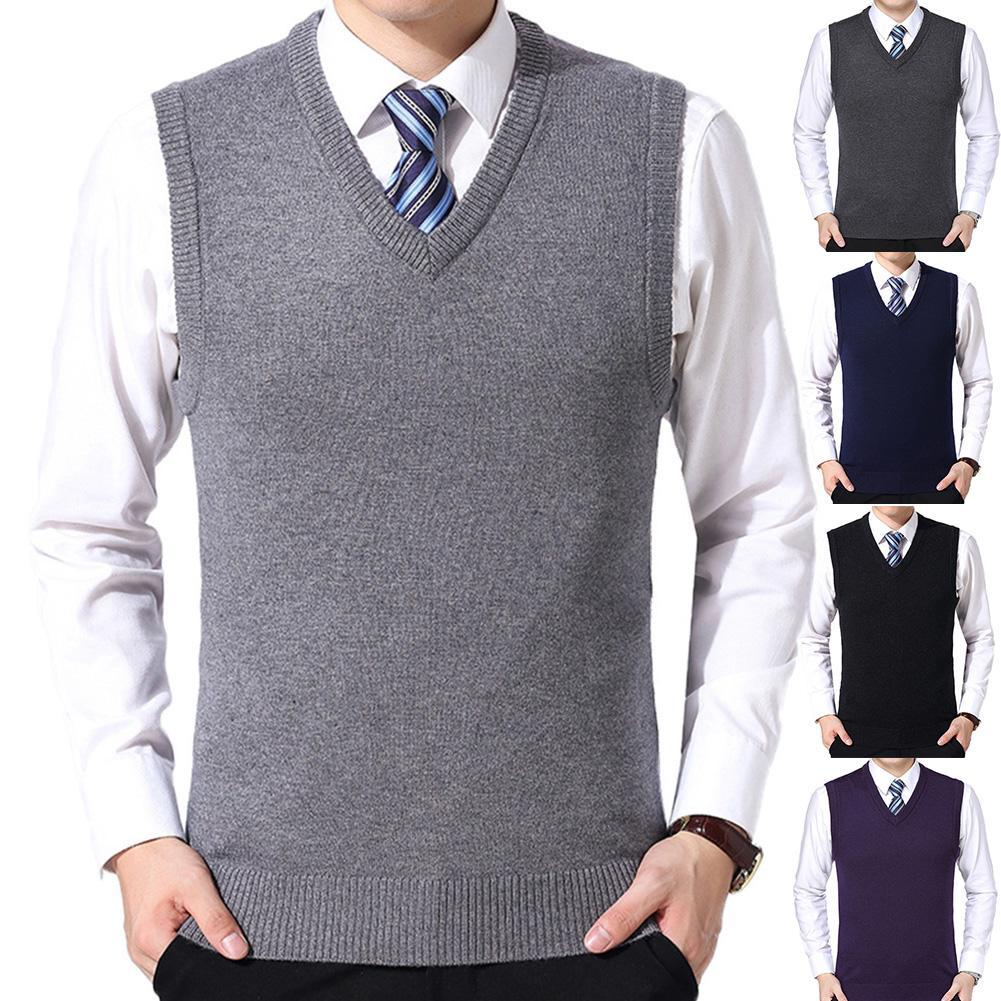 Men Casual Winter Solid Color V Neck Sleeveless Knitted Woolen Plus Size Vest Sleeveless Pullover Men Slim Knitted Waistcoat