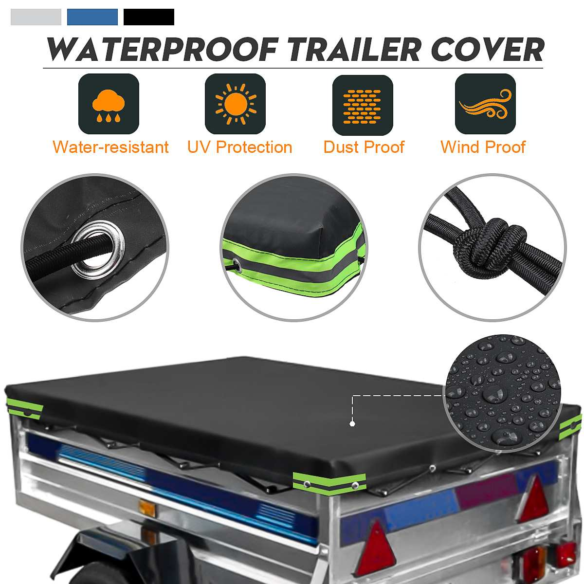 Car Trailer Cover Canopy Auto Roof Tent Cover Outdoor Protection Waterproof Windproof Dust-proof 6' X 4' Ft 183 X 122cm