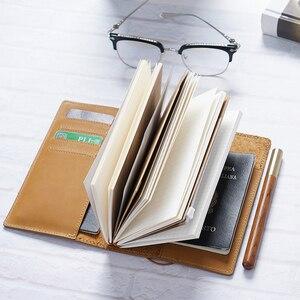 Image 4 - عالية الجودة جلد طبيعي دفتر اليدوية مجلة السفر مع حاملي بطاقة جواز سفر مكان جلد البقر مذكرات دفتر الرسم مخطط