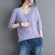 Brand Sweater T-Shirt Women Casual Half Sleeve Blouse Female Linen Knitting V-neck T Shirt Summer Solid Color Plus Size Tops(China)