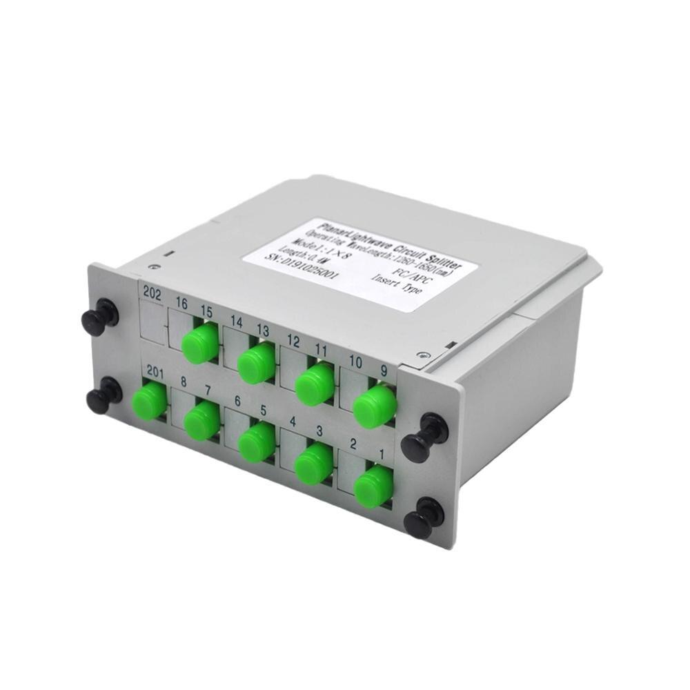 1*8 FC/APC Fiber Optic Splitter 1x8 Optical PLC Splitter Cassette Box Card Inserting Type Optical FTTH PLC Splitter
