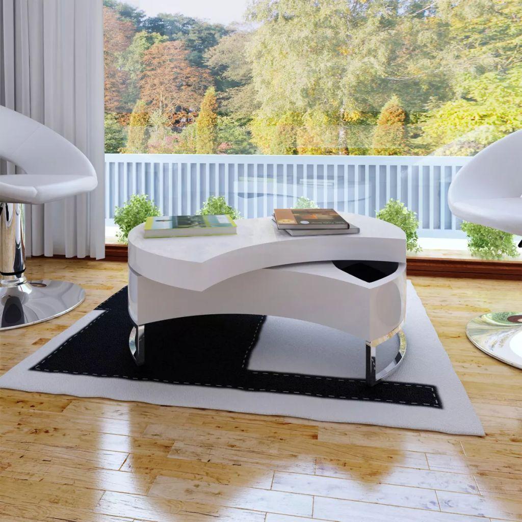 VidaXL Coffee Table Shape-adjustable High Gloss White