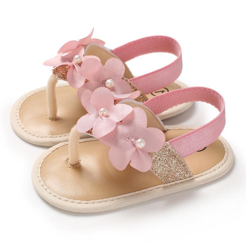 2019 NEW Fashion Toddler Infant Baby Girls Pearl Bling Flower Princess Shoes Sandals Prewalker  Toddler Sandals Baby