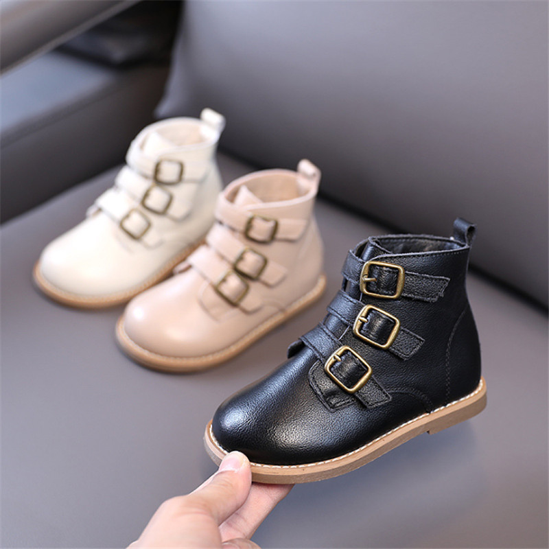 2020 новые зимние детские ботинки для маленьких девочек из натуральной кожи с пряжкой, водонепроницаемые детские ботинки, модная обувь для маленьких детей Сапоги    АлиЭкспресс