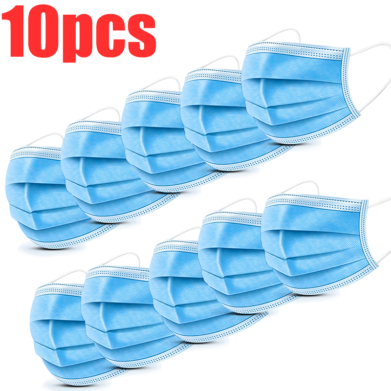 10Pcs Mouth Face Mask Disposable Cotton Face Masks Anti Dust Flu 3 Layer Activated Carb Anti Protective Filter Safety Maska