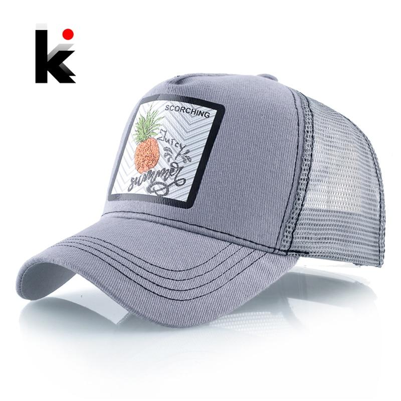 Snapback Mesh Baseball Cap Men Women Beach Casual Visor Hats Breathable Cotton Dad Hat Men's Fashion Trucker Hip Hop Bones Caps