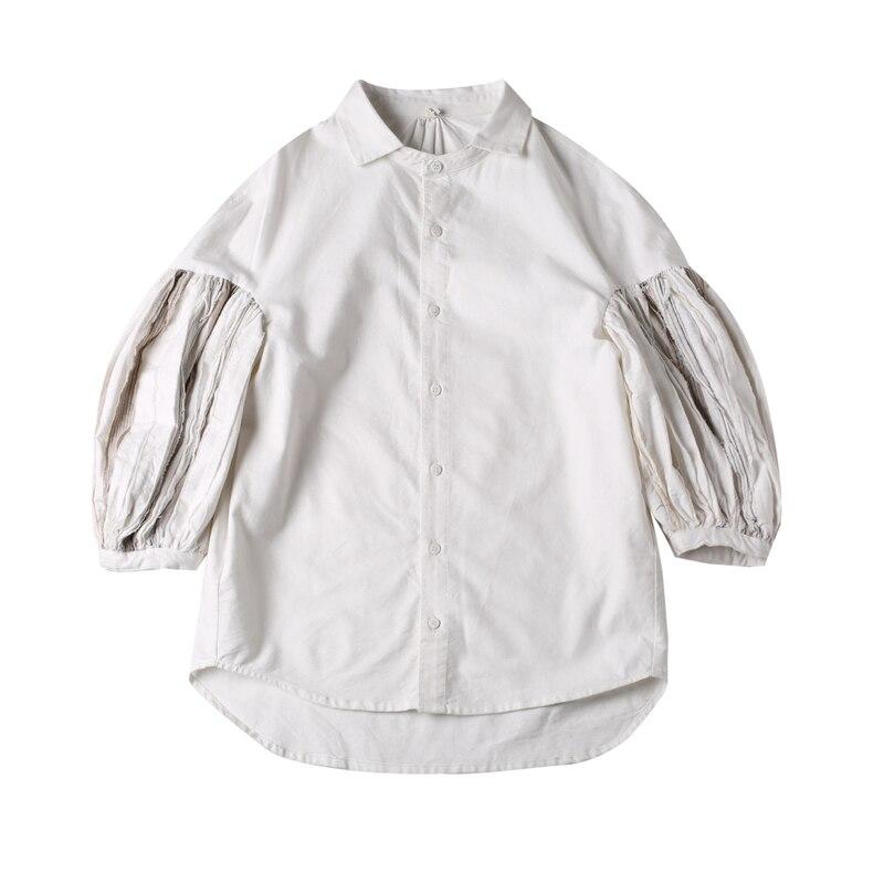 Longue lanterne manches pli Joint fendu 2019 mode coton automne hiver vêtements haut pour femme blanc chemise ample femmes Blouse F98