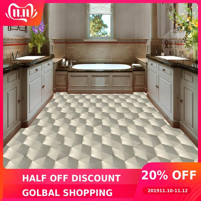 Free Shipping Modern 3D Geometric Abstract Pattern Floor Wallpaper Bedroom Kitchen Decoration Non-slip Self-adhesive Floor Mural
