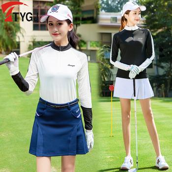 Odzież golfowa kobiety oddychające koszule golfowe wiosna jesień ochrona przed słońcem damskie koszule z długim rękawem siatka sportowa ubrania do gry w golfa tanie i dobre opinie WOMEN COTTON spandex Pełna Anty-pilling Szybkie suche TT0057 Pasuje prawda na wymiar weź swój normalny rozmiar Suknem