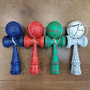 Image 2 - 18CM Riss Farbe Holz Kendama Ball Geschickte Jonglierball Spielzeug Japanischen Traditionellen Zappeln Ball Kinder Erwachsene Freizeit Sport Geschenk