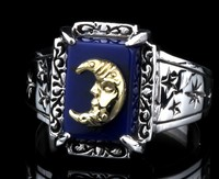 Japanese authentic pieces lapis lazuli sky 925 sterling silver ring female male money moon Thai silver ring finger ring
