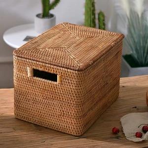Image 4 - Laundry Basket Rattan Woven Storage Basket Handmade Brown Large Capacity Portable Clothing Storage Box Indoor Household Items