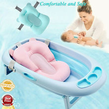 New Portable Baby Shower Bath Tub Pad Non-Slip Bathtub Mat Newborn Kids Safety Security Bath Support Foldable Soft Pillow
